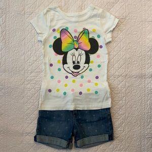 Disney Minnie Tee & Gap Kids Shorts (Lot of 2)